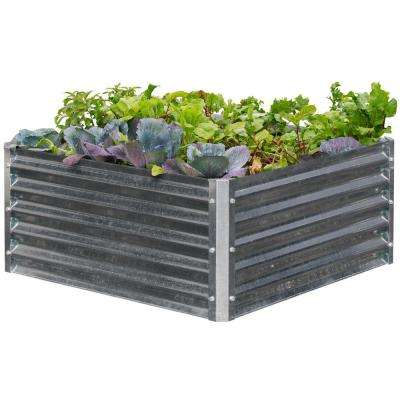 EarthMark Alto Series 40 in. x 40 in. x 17 in. Square Galvanized Metal Raised Garden Bed