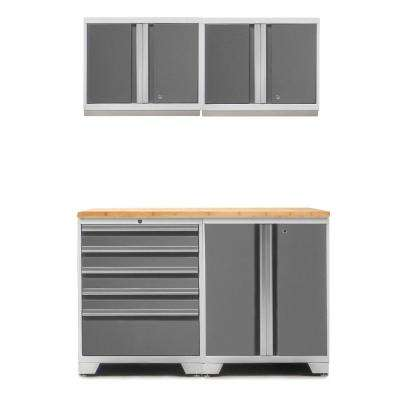 Pro 3.0 85 in. H x 56 in. W x 22 in. D 18-Gauge Welded Steel Bamboo Worktop Cabinet Set in Platinum (5-Piece)