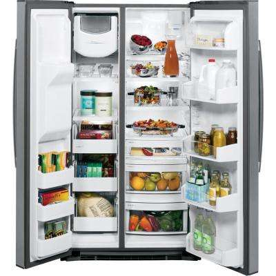 Profile 36 in. W 25.4 cu. ft. Side by Side Refrigerator in Stainless Steel