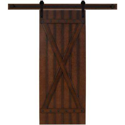 24 in. x 90 in. Tuscan II Stained Hardwood Interior Barn Door with Sliding Door Hardware Kit