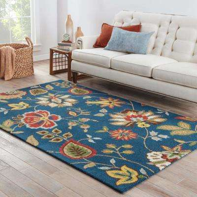 Blue Depths 8 ft. x 10 ft. Floral Area Rug