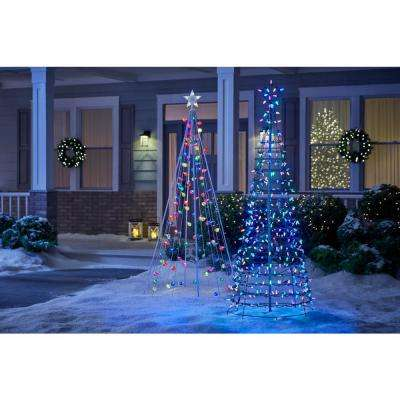 6 ft. Pre-Lit LED Tree Sculpture with Star and Color Changing Blue to Multi-Color Lights