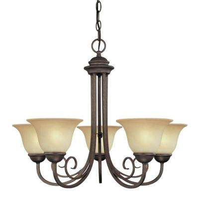 5-Light Ebony Bronze Interior Chandelier with Aged Alabaster Glass