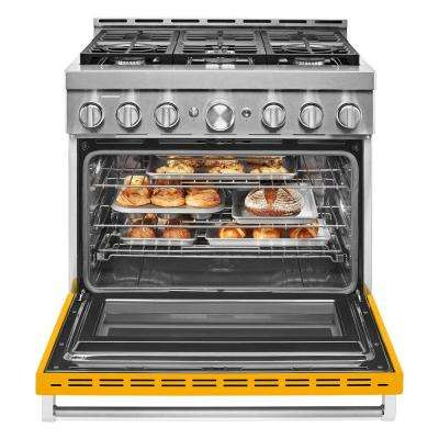 36 in. 5.1 cu. ft. Smart Commercial-Style Gas Range with Self-Cleaning and True Convection in Yellow Pepper