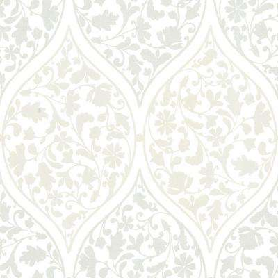 Adelaide Ogee Floral Silver Wallpaper
