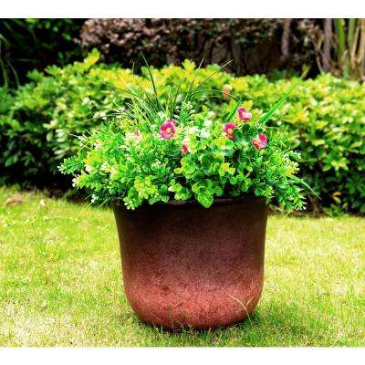 Small 9.8 in. Tall Red Lightweight Concrete Modern Vibrant Ombre Round Planter