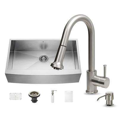 All-in-One Undermount Stainless Steel 36 in. Single Basin Kitchen Sink Set in Stainless Steel