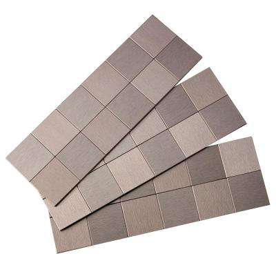 Square Matted 12 in. x 4 in. Metal Decorative Tile Backsplash in Brushed Stainless (1 sq. ft.)