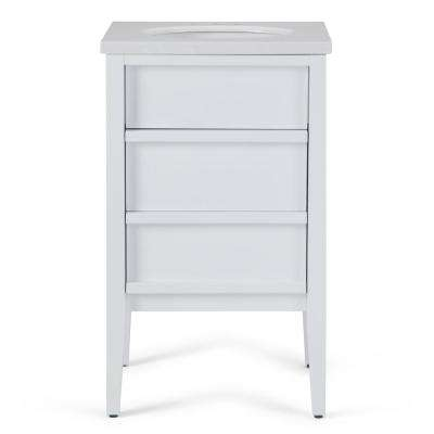 Russo 20 in. W x 19 in. D Bath Vanity in White with Marble Extra Thick Vanity Top in White Veined with White Basin