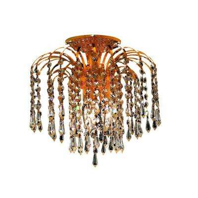 3-Light Gold Flushmount with Clear Crystal