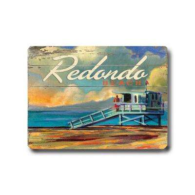 "18 in. x 24 in. ""Redondo Beach by Wade Koniakowsky ""Planked Wood"" Wall Art"