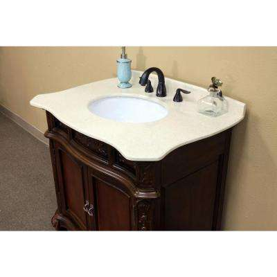 Ashby 34-6/10 in. W x 36 in. H Single Vanity in Walnut with Marble Vanity Top in Cream