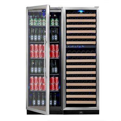 3 Zone 47.08 in. 164-Bottle Wine and 450-Can Combo Beverage Cooler