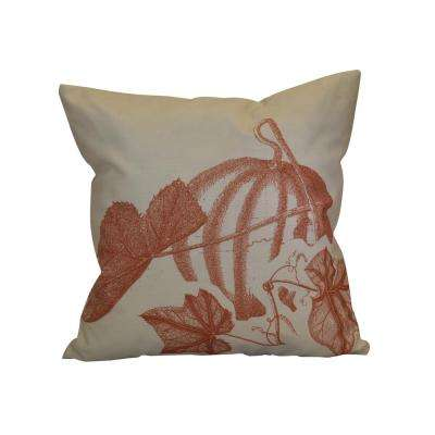 16 in. x 16 in. Stagecoach, Floral Print Pillow, Rust