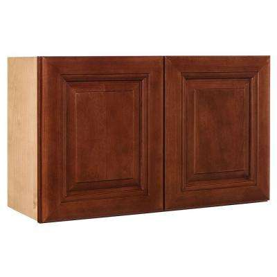 36x12x12 in. Lyndhurst Assembled Wall Double Door Cabinet in Cabernet