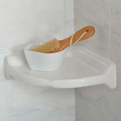 Restore 8.5 in. W Ceramic Wall Mounted Corner Shower Shelf Tile in White