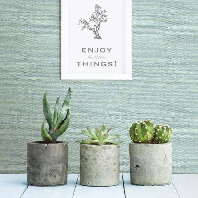 8 in. x 10 in. Agave Teal Grasscloth Wallpaper Sample