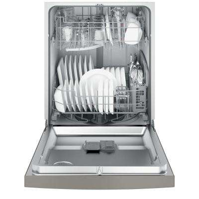Front Control Dishwasher in Slate with Hybrid Stainless Steel Tub and Steam Prewash, Fingerprint Resistant