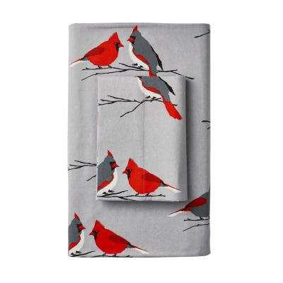 Winter Cardinal Flannel Flat Sheet