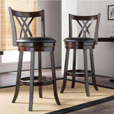 Baxton Studio Bloomfield Black Faux Leather and Dark Brown Wood 2-Piece Bar Stool Set