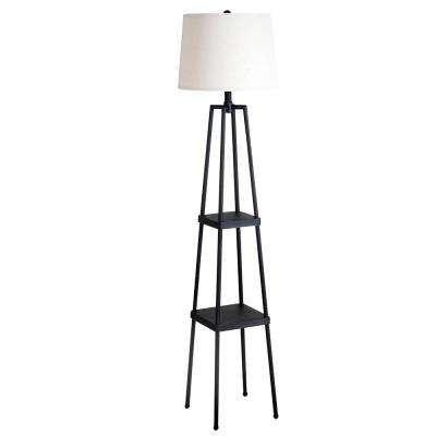 58 in. Distressed Iron Etagere Floor Lamp with Linen Shade