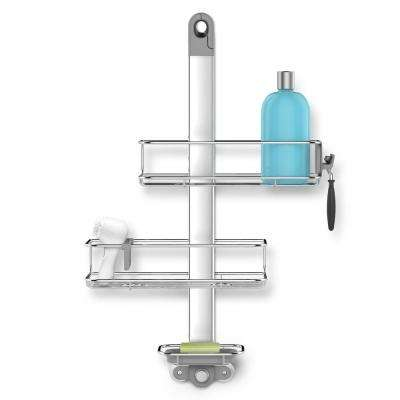 3-Tier Adjustable Shower Caddy in Aluminum and Stainless Steel