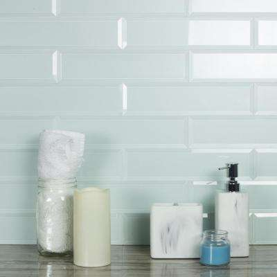 Frosted Elegance Blue Subway 3 in. x 12 in Glossy Glass Subway Tile (1 sq. ft.)