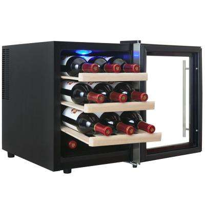 12-Bottle Single Zone Thermoelectric Wine Cooler in Stainless Steel with Wooden Shelves