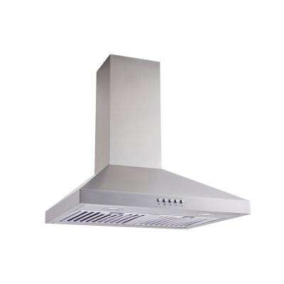 30 in. Convertible Wall Mount Range Hood in Stainless Steel with Baffle Filters, Push Button and Charcoal Filters