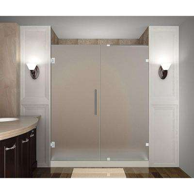 Nautis 70 in. x 72 in. Completely Frameless Hinged Shower Door with Frosted Glass in Chrome