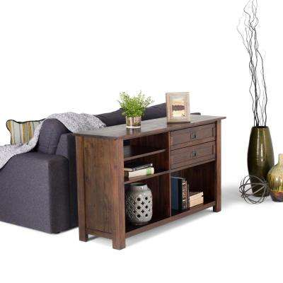 Monroe Distressed Charcoal Brown Storage Console Table