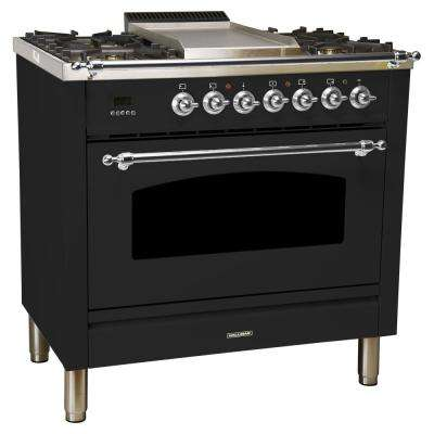 36 in. 3.55 cu. ft. Single Oven Italian Gas Range with True Convection, 5 Burners, Griddle, Chrome Trim in Glossy Black