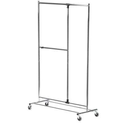Dual Bar Adjustable Steel Rolling Garment Rack in Chrome