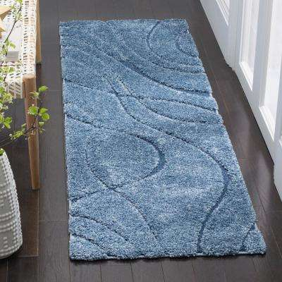 Florida Shag Light Blue/Blue 2 ft. 3 in. x 9 ft. Runner Rug