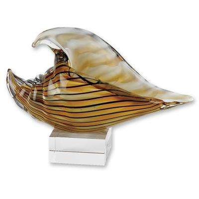 10 in. x 7 in. Tall Art Glass Seashell On Crystal Base