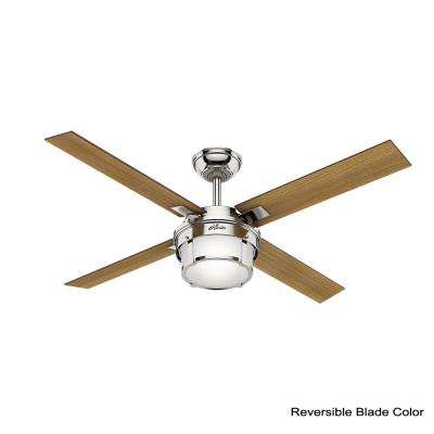 Maybeck 52 in. LED Indoor Polished Nickel Ceiling Fan