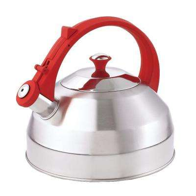 Steppes 11-Cup Tea Kettle in Stainless Steel with Red Handle/Knob