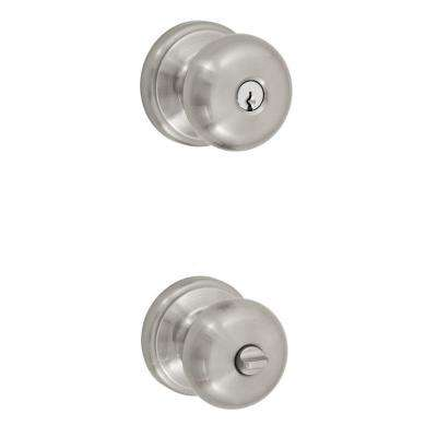 Solid Brass Brushed Nickel Half-Round Keyed Entry Knob with Ketme Rose