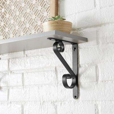 6.5 in. x 9 in. Matte Black Bold Scroll Decorative Shelf Bracket