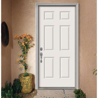 36 in. x 80 in. 6-Panel Primed Right-Hand Inswing Steel Prehung Front Door w/Brickmould