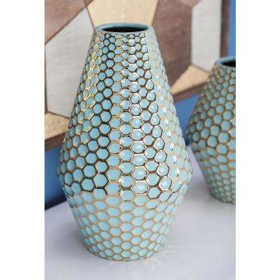 14 in. Rhombus Honeycomb Blue and Gold Ceramic Decorative Vase