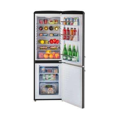 Retro 21.6 in. 7 cu. ft. Bottom Freezer Refrigerator in Midnight Black, ENERGY STAR