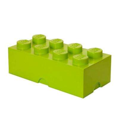 Storage Brick 8 - 9.84 in. D x 19.76 in. W x 7.12 in. H Stackable Polypropylene in Lime Green