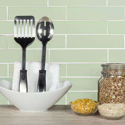Metro Celery Green Subway 3 in. x 12 in. Glossy Glass Wall Tile (4-Piece/Pack)