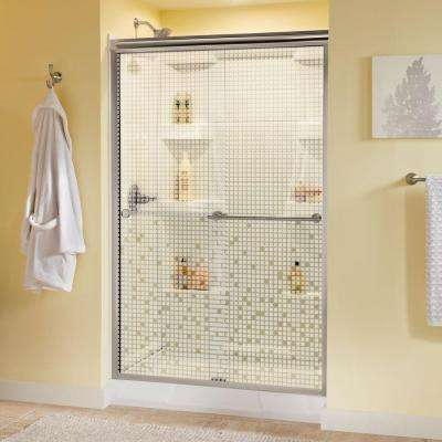 Panache 47-3/8 in. x 70 in. Bypass Sliding Shower Door in Brushed Nickel with Semi-Framed Mosaic Glass