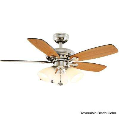 Luxenberg 36 in. LED Brushed Nickel Smart Ceiling Fan with Light and Remote Works with Google Assistant and Alexa