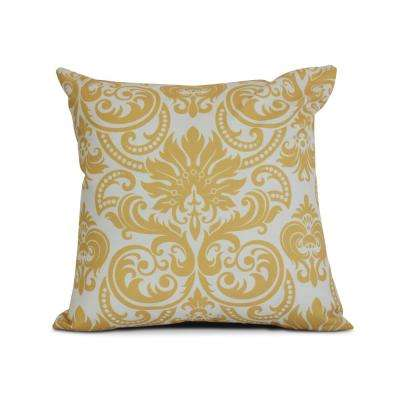 16 inch Alexys Floral Print Pillow in Gold