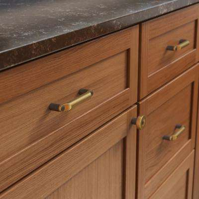 Riveted 1-1/4 in. (32 mm) Brushed Brass with Soft Iron Cabinet Knob