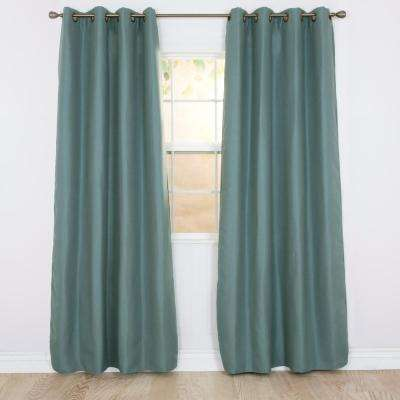 Blackout Linen Look Teal Polyester Blackout Curtain