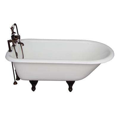 5.6 ft. Cast Iron Ball and Claw Feet Roll Top Tub in White with Oil Rubbed Bronze Accessories